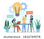 colleagues sharing thoughts and ... | Shutterstock .eps vector #1816769078