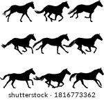 set silhouette of black mustang ... | Shutterstock .eps vector #1816773362