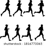 set of silhouettes. runners on... | Shutterstock .eps vector #1816773365