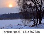 Winter Landscape Frozen River...