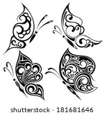 black and white butterflies | Shutterstock .eps vector #181681646