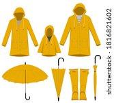 Vector Set Of Yellow Raincoats  ...