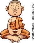 cartoon meditating buddhist... | Shutterstock .eps vector #1816828142