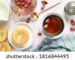 A Cup Of Hot Aroma Rose Tea...