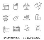 outline style of grocery store... | Shutterstock .eps vector #1816918202