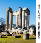 Small photo of Pillars of the temple of Zeus in the ancient Nemea, Greece