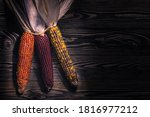 Dried Indian Corn On Wooden...