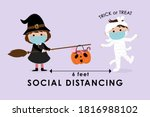 covid 19 and social distancing... | Shutterstock .eps vector #1816988102