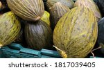 Cantaloupe Melons In A Market...