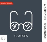 glasses thin line vector icon.... | Shutterstock .eps vector #1817039975