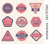 vintage sale labels and badges... | Shutterstock .eps vector #181707062