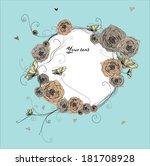 vector rose circlet on blue... | Shutterstock .eps vector #181708928
