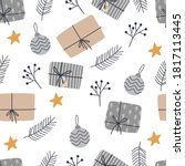 christmas seamless pattern with ... | Shutterstock .eps vector #1817113445