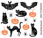 set of grunge halloween... | Shutterstock .eps vector #1817154545