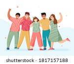 group of young boys and girls... | Shutterstock .eps vector #1817157188