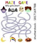 halloween maze game   who gets... | Shutterstock .eps vector #1817169788