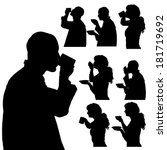 vector silhouette of people in...