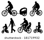 parents riding bicycles with... | Shutterstock .eps vector #181719932