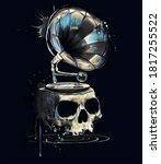 Skull Illustration With Musical ...