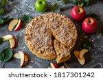 Round Apple Crumble Cake On...