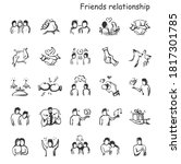 Friends Relationship Line Icons ...