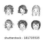 cute girl smiling  sketch for... | Shutterstock .eps vector #181735535