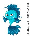 a little handsome blue fish ...   Shutterstock .eps vector #1817366438