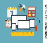 modern flat icon set for web... | Shutterstock .eps vector #181743725