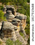 Small photo of Rock formations at he Garden of the Gods in the afternoon light. Shawnee National Forest, Illinois, USA