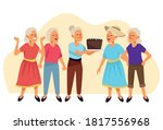 old women with sweet cake... | Shutterstock .eps vector #1817556968