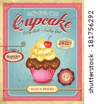 cupcake poster design in retro... | Shutterstock .eps vector #181756292