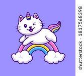 cute cat unicorn flying cartoon ... | Shutterstock .eps vector #1817568398
