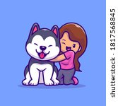 cute girl with husky dog... | Shutterstock .eps vector #1817568845