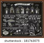 chalkboard poster beach huts  ... | Shutterstock .eps vector #181763075