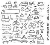 transport hand drawn set | Shutterstock .eps vector #181768772