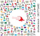 soccer background icons set.... | Shutterstock .eps vector #181771682