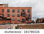 black iron fire escapes on old... | Shutterstock . vector #181780226