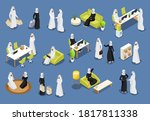 isometric icons with arab women ... | Shutterstock .eps vector #1817811338