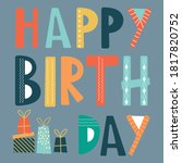 happy birthday greetings with... | Shutterstock .eps vector #1817820752