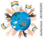 hands  lgbtq flags and planet...   Shutterstock .eps vector #1817852345