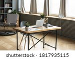 Modern Empty Wooden Table With...