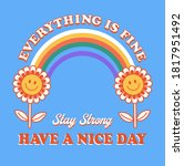 retro positive flower with...   Shutterstock .eps vector #1817951492