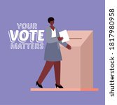 black woman and voting box with ... | Shutterstock .eps vector #1817980958