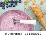 homemade blueberry ice cream on ... | Shutterstock . vector #181800092