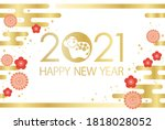 the year 2021  year of the ox ... | Shutterstock .eps vector #1818028052
