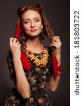 girl in russian style posing in ... | Shutterstock . vector #181803722