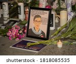 Small photo of NEW YORK, N.Y. – September 19, 2020: A makeshift memorial to United States Supreme Court Justice Ruth Bader Ginsburg is seen outside the New York State Supreme Court Building in Foley Square.