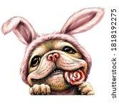 a bulldog puppy. wall sticker.  ...   Shutterstock .eps vector #1818192275
