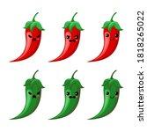 chilli cartoon isolated on...   Shutterstock .eps vector #1818265022