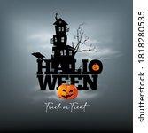 Happy Halloween. Haunted  Moon  ...